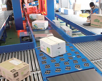 Courier box separated by wheel sorter